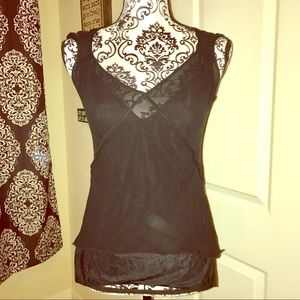 Black sheer Vneck with thin tank underneath